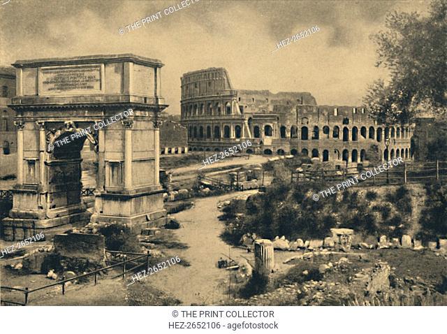 'Roma - Arch of Titus - The Colosseum', 1910. From Cento Vedute Classiche di Roma. [Enrico Verdesi, Rome, 1910]