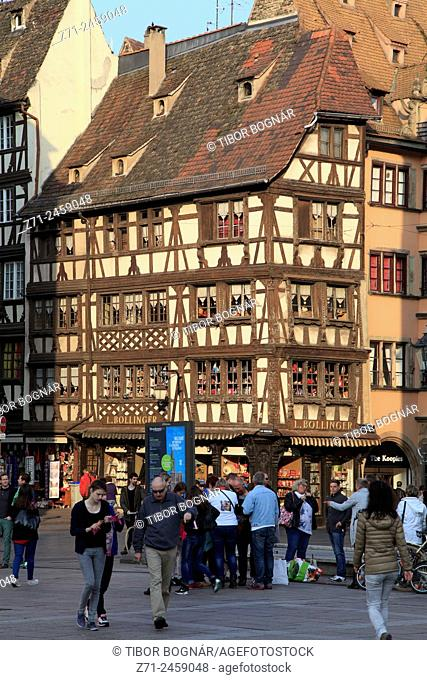 France, Alsace, Strasbourg, street scene, typical architecture, people