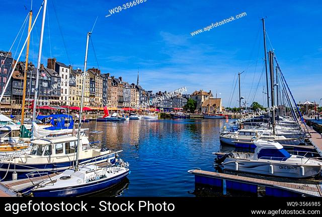 The picturesque harbour in Honfleur, Normandy, France in Summer