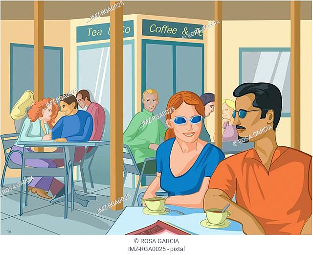 A couple enjoying cups of coffee at a cafe