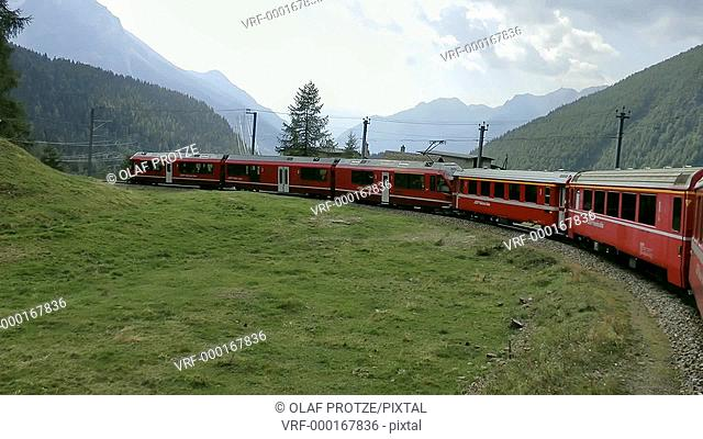 Train ride in the Bernina Express, Switzerland
