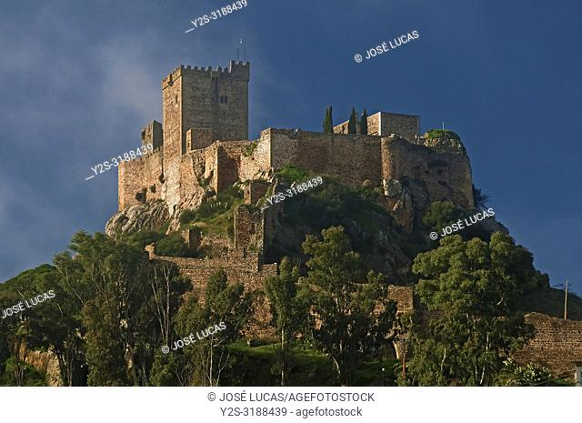 The Castle of the Moon -13th century- and fog, Alburquerque, Badajoz province, Region of Extremadura, Spain, Europe
