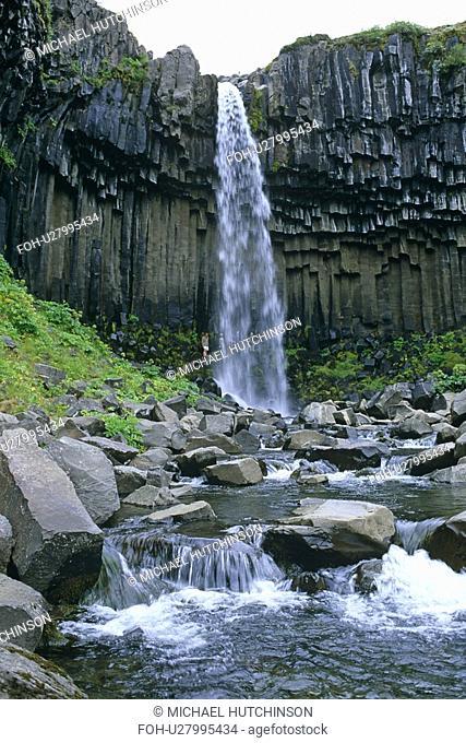 Svartifoss waterfall framed by basalt columns. Skaftafell national park, Iceland
