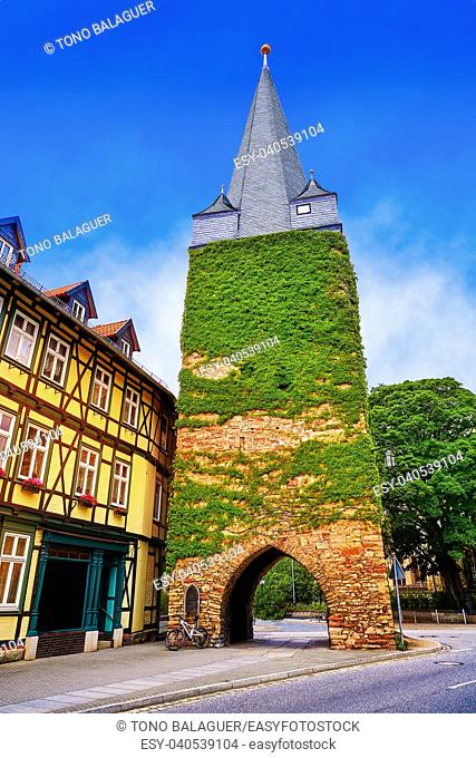 Wernigerode tower Westerntorturm in Harz Germany at Saxony