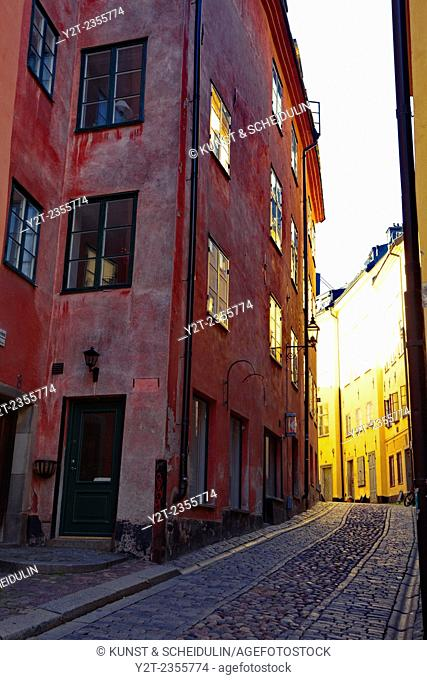 Alley in the historic quarter of Stockholm, Gamla Stan