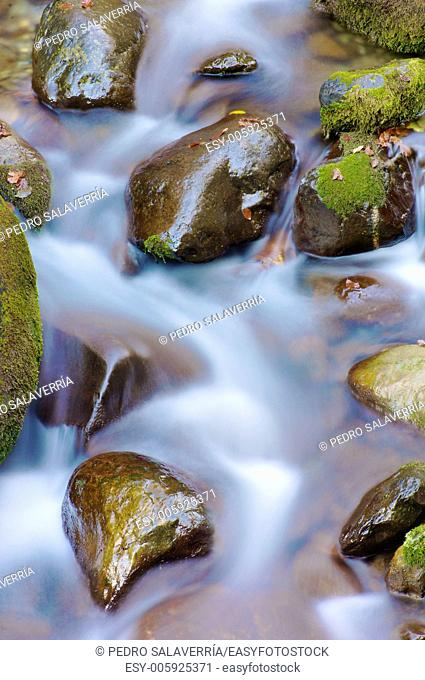 silky stream in a forest in autumn in the valley of Aspe, Pyrenees, France