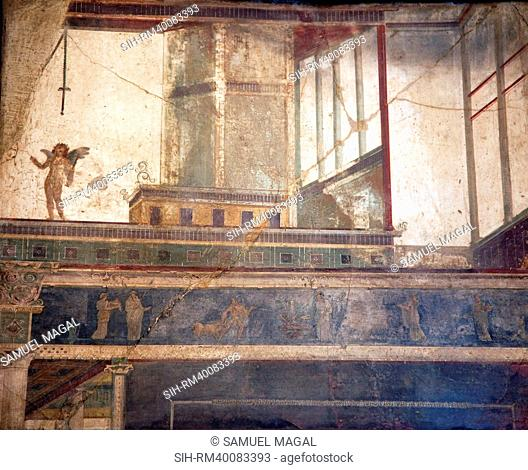 Italy, Naples, Naples Museum, from Pompeii, VII 6, 28, Cubical 8, Architecture