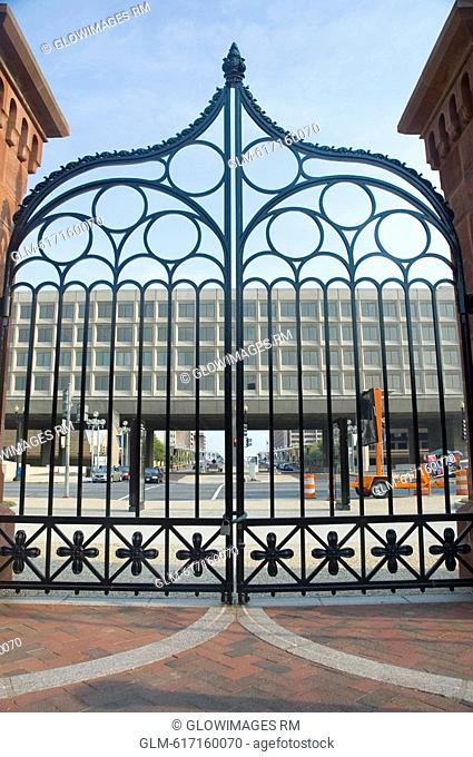 Entrance of a castle, Smithsonian Institution, The Mall, Washington DC, USA