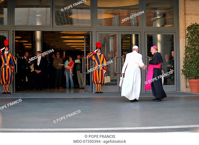 Pope Francis durint the special Assembly of the Synod of Bishops for the Pan-Amazonian Region on the theme of the Amazon: New Roads for the Church and for...