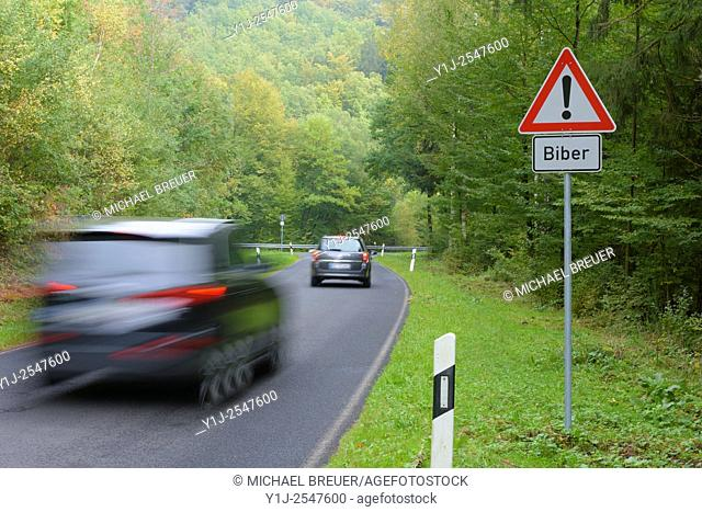 Danger Sign, Beaver crossing, Spessart, Bavaria, Germany, Europe