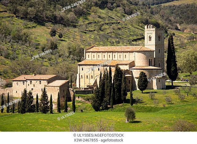 St. Antimo abbey, Siena province, Tuscany, Italy, Europe