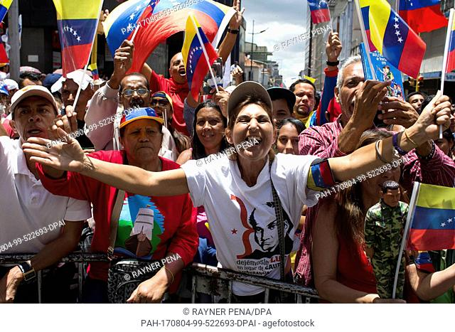 Government supporters celebrate the start of a constitutional assembly in Caracas, Venezuela, 04 August 2017. The assembly started its work despite all warnings...