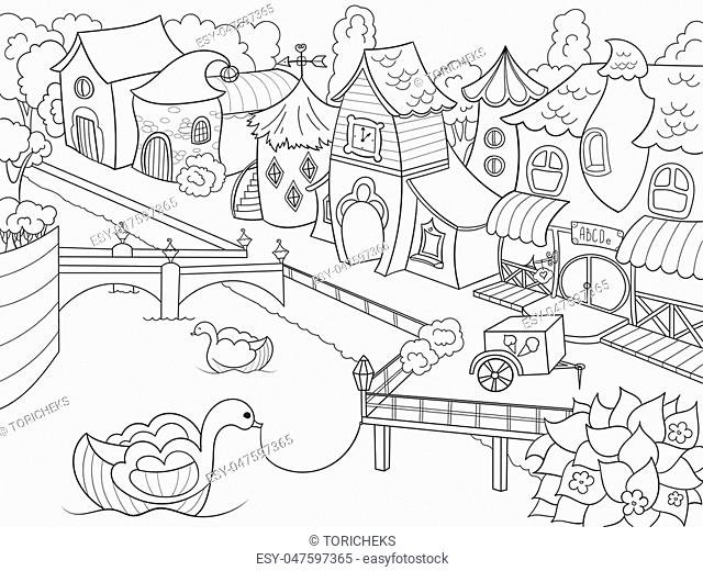 Children coloring vector fairy city with riverZentangle style. Black and white line