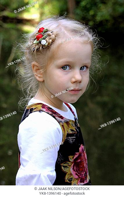 Portrait of Three Year Old Well Dressed Caucasian Kid Girl