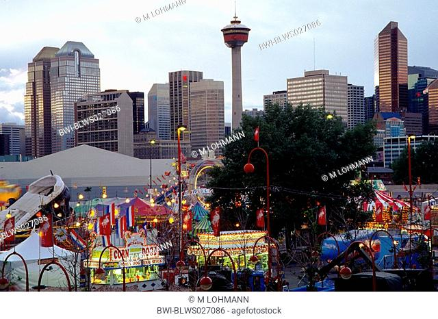 Stampede and Calgary skyline, Canada, Alberta, Calgary