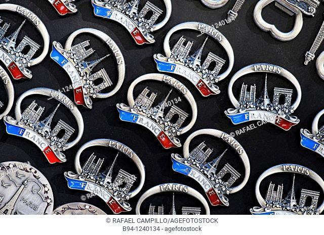 Paris souvenirs fridge magnets. France
