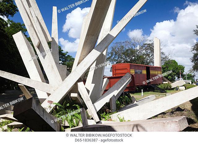 Cuba, Santa Clara Province, Santa Clara, Monumento a la Toma del Tren Blindado, monument to the attack on an armored train by Che Guevara, the armored train