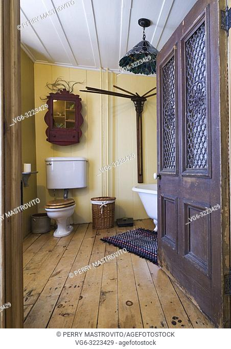 Main bathroom with high-tank toilet and freestanding clawfoot bathtub on ground floor inside an old 1835 fieldstone house