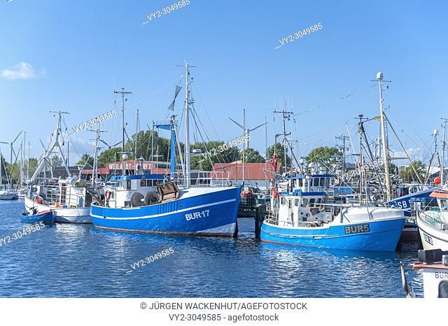 Fishing harbor, Burgstaaken, Fehmarn, Baltic Sea, Schleswig-Holstein, Germany, Europe