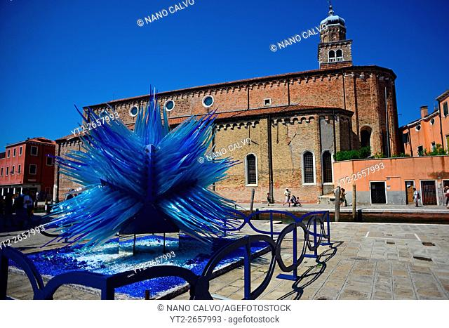 """""""""""Comet Glass Star"""" sculpture made for Christmas 2007 by Master glass maker Simone Cenedese, displayed at Campo Santo Stefano, Murano, Venice, Italy"