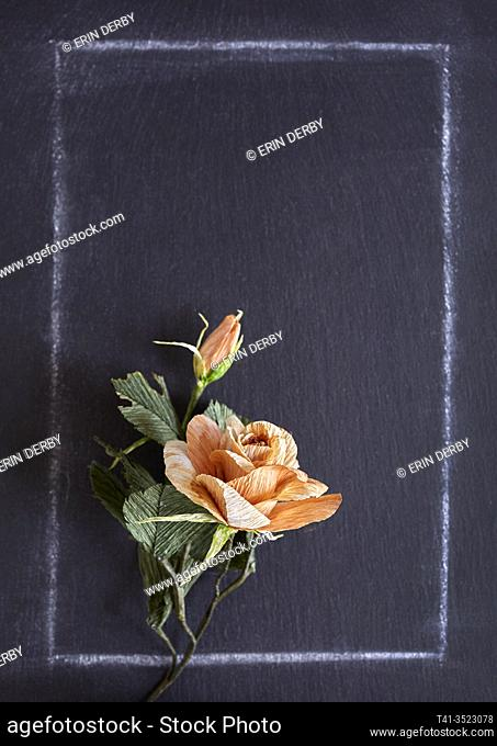 A handmade paper rose on a chalkboard background