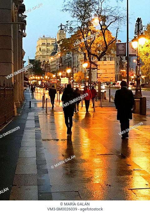 Alcala street at dawn. Madrid, Spain