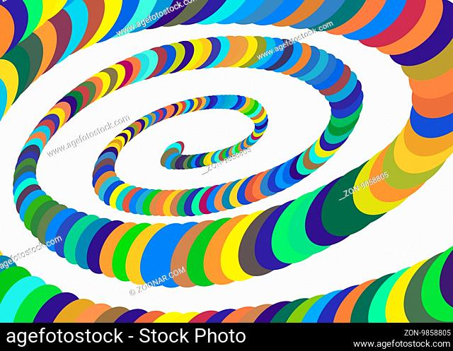 Colorful spiral helix Converging to the Center. Elliptical Design Element