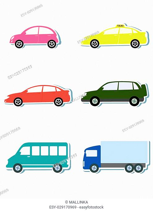 colorful sticker set with car icon on white background