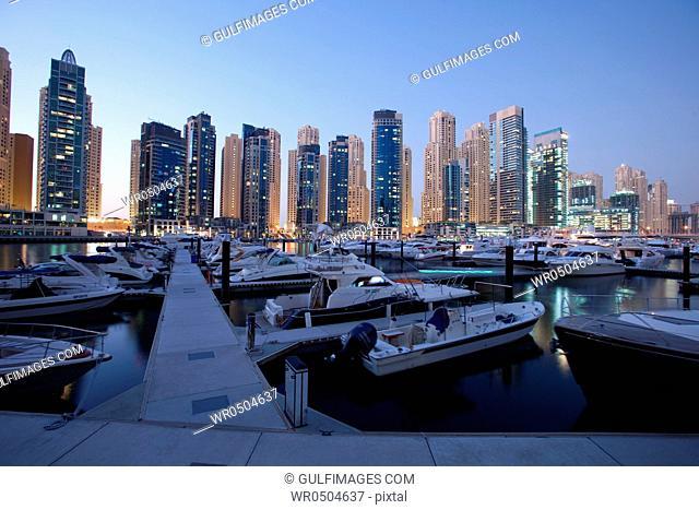 Dubai Marina at night, UAE