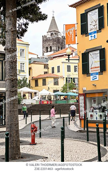 Streets of Funchal town on Madeira. Funchal, Madeita Island, Portugal