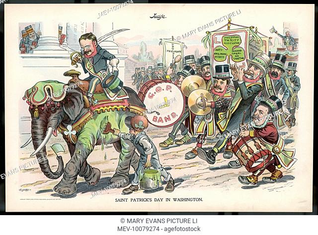 THEODORE ROOSEVELT 26th American President celebrating St Patrick's Day in Washington
