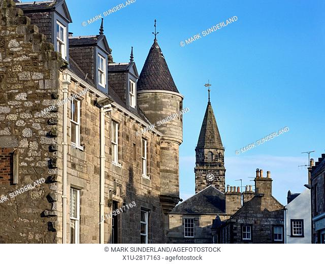 Buildings along the High Street in the Village of Falkland Fife Scotland