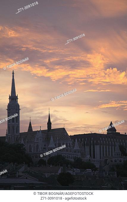Hungary, Budapest, sunset, castle district, silhouette, skyline,