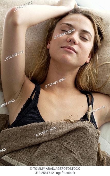 girl in bed with bikini