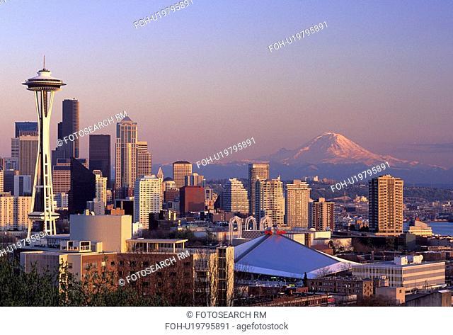 sunset, skyline, rainier, mt, mount, seattle