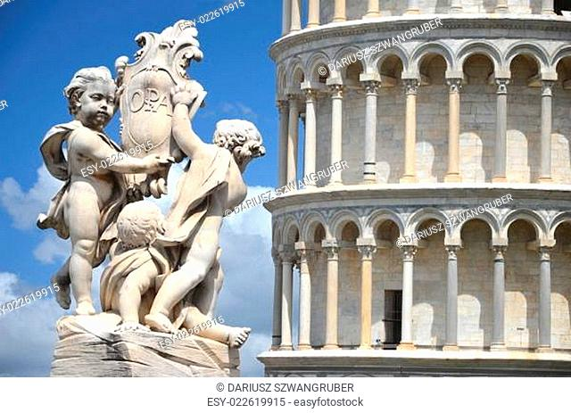 The statue of angels on Square of Miracles in Pisa, Italy