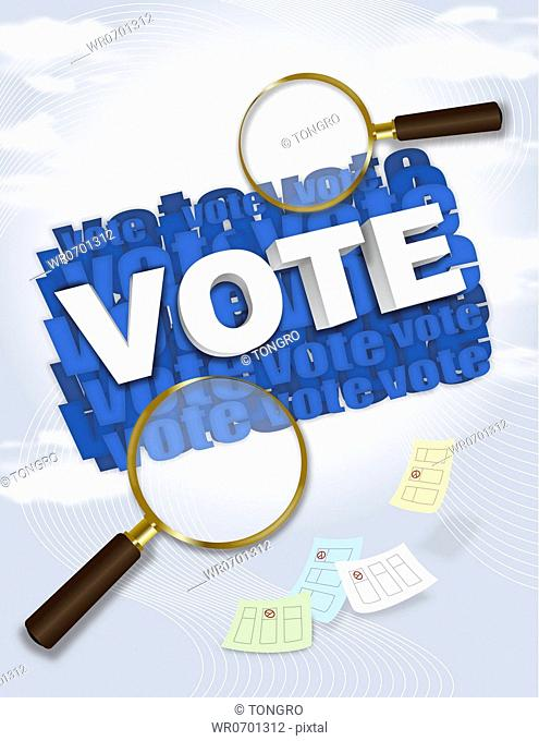 'Vote' word with magnifier and ballot paper