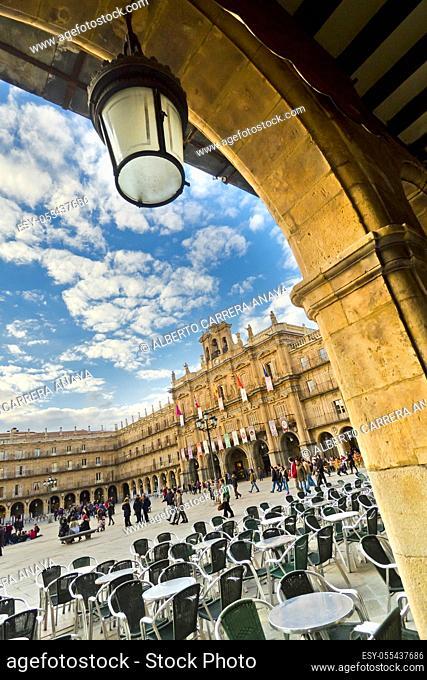 Main Square, Baroque Style, 18th century, Traditional Architecture, Salamanca, UNESCO World Heritage Site, Castilla y León, Spain, Europe
