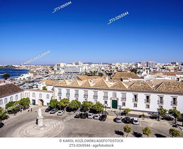 Episcopal Palace and Largo da Se, elevated view, Faro, Algarve, Portugal