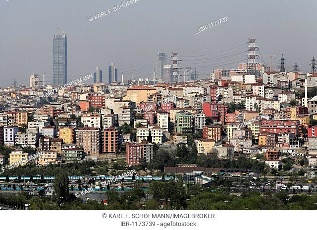Modern city district Suetluece, view from the Cafe Pierre Loti, Eyuep, Istanbul, Turkey