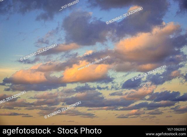 Sunset sky over Promontory of Capo Zafferano on the Tyrrhenian Sea in the municipality of Santa Flavia on Sicily Island in Italy