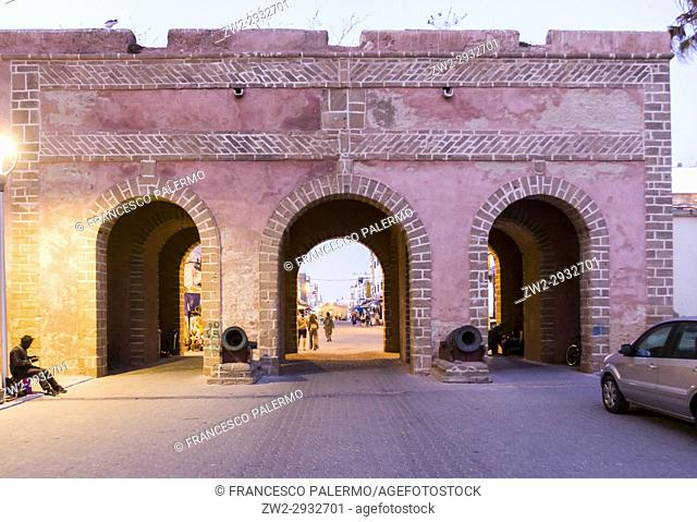 Main street of medina in the summer twilight. Essaouira, Marrakech-Safi. Morocco