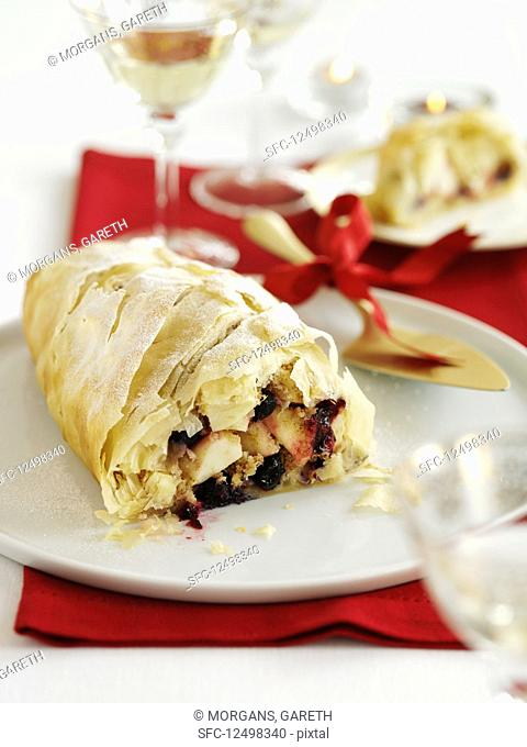 Christmas fruit strudel