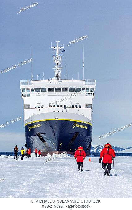 The Lindblad Expeditions ship National Geographic Explorer wedged into fast ice, Duse Bay, Weddell Sea, Antarctica