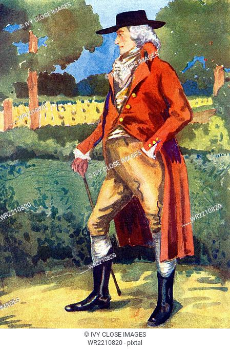 This 1907 illustration shows an Englishman in the time of George III (1760-1820). There are no cuffs now onthe jacket and the sleeve is left unbuttoned at the...