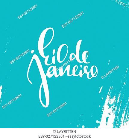 Rio de Janeiro inscription, on a blue background. Calligraphy handmade greeting cards, posters phrase Rio de Janeiro. Background watercolor brush blue