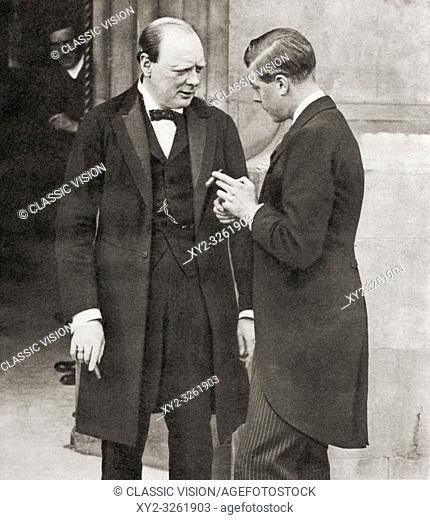Winston Churchill, seen here in 1919 with the Prince of Wales, future Edward VIII. Sir Winston Leonard Spencer-Churchill, 1874-1965