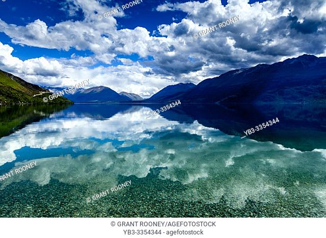 Lake Wakatipu and Mountain Scenery On The Queenstown to Glenorchy Road, South Island, New Zealand