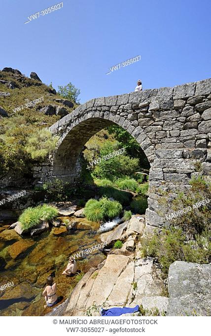 Roman bridge of Cava da Velha across the Laboreiro river. Castro Laboreiro, Peneda Gerês National Park. Portugal