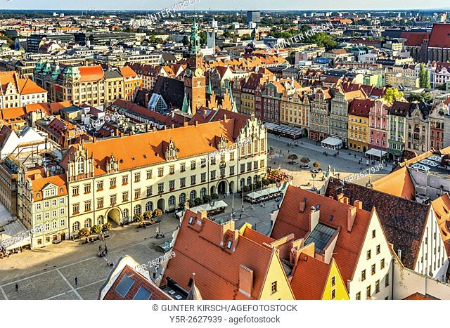 View from the tower of the St. Elizabeth Church on the Rynek marketplace and to the Wroclaw Old Town Hall. The Gothic building is one of the main landmarks of...